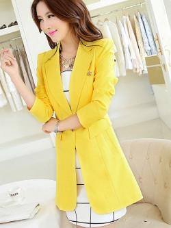 เสื้อสูทแฟชั่น พร้อมส่ง สีเหลือง ตัวยาว คลุมสะโพก แขนยาว คอปกเก๋ แต่งสายคาดเอวด้านหลัง งานสวยดีไซน์เก๋มากๆ