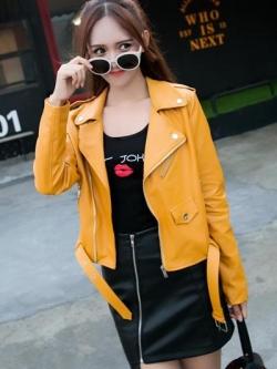 เสื้อแจ็คเก็ต เสื้อหนังแฟชั่น พร้อมส่ง สีเหลือง หนังด้าน แขนยาว ตัวสั้น หนัง PU คอปก ดีเทลด้วยปกโฉบเฉี่ยว