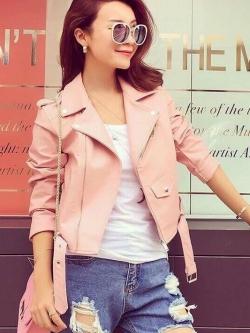 เสื้อแจ็คเก็ต เสื้อหนังแฟชั่น พร้อมส่ง สีชมพู หนังด้าน แขนยาว ตัวสั้น คอปก ดีเทลด้วยปกโฉบเฉี่ยว