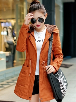 เสื้อโค้ท เสื้อกันหนาว พร้อมส่ง สีส้ม แขนยาวจั๊มปลายแขน แต่งตัดด้วยสีน้ำตาลสีสวย
