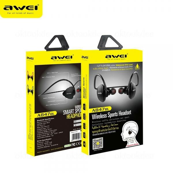 รูปภาพสินค้า หูฟังบลูทูธใส่ออกกำลังกาย AWEI A847BL Wireless Sport Headset
