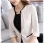 เสื้อสูทแฟชั่น เสื้อสูททำงาน เสื้อสูทสำหรับผู้หญิง พร้อมส่ง สีครีม คอวี แต่งขลิบสีดำ thumbnail 5