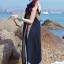 MAXI DRESS ชุดเดรสยาว พร้อมส่ง สีดำ สายเดี่ยว แต่งลวดลายกราฟิกเก๋ กระโปรงยาวบานพริ้วๆ thumbnail 6