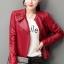 เสื้อแจ็คเก็ต เสื้อหนังแฟชั่น พร้อมส่ง สีแดง คอจีน ตัวสั้น หนังด้าน ดีเทลซิบรูดปลายแขนเก๋ thumbnail 4