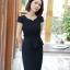 ชุดเดรสทำงาน สีดำ คอวี แขนสั้น แต่งกระดุมน่ารัก ดีเทลระบายชายเสื้อ thumbnail 6