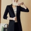 เสื้อสูทแฟชั่น เสื้อสูทตัวยาว พร้อมส่ง สีดำ คอปก แขนยาว ตัวยาวคลุมสะโพก ทรงเรียบเก๋ thumbnail 6
