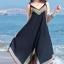 MAXI DRESS ชุดเดรสยาว พร้อมส่ง สีดำ สายเดี่ยว แต่งลวดลายกราฟิกเก๋ กระโปรงยาวบานพริ้วๆ thumbnail 1