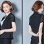 เสื้อสูทแฟชั่น เสื้อสูททำงาน เสื้อสูทสำหรับผู้หญิง พร้อมส่ง สีดำ แขนสั้น ผ้าคอนตอน แต่งแขนด้วยผ้าลูกไม้ ใส่สบาย thumbnail 5