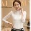 เสื้อลูกไม้แฟชั่น พร้อมส่ง สีขาว คอจีนดีเทลลายถักน่ารัก ผ้าลายลูกไม้ แขนยาว เนื้อนิ่ม thumbnail 6