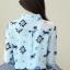 เสื้อเชิ้ตทำงาน เสื้อแฟชั่น สีฟ้า พิมพ์ลายม้าน่ารัก คอปก เนื้อผ้า ชีฟอง ใส่สบาย ติดกระดุมปลายแขนเก๋ thumbnail 4