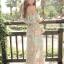MAXI DRESS ชุดเดรสยาว พร้อมส่ง ผ้าชีฟอง ลายดอกไม้ โทนเขียวอมฟ้า thumbnail 3