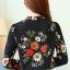 เสื้อเชิ้ตทำงาน เสื้อแฟชั่น สีดำ คอจีนจับกลีบ ลายดอกไม้สีสันสดใส แต่งกระดุมช่วงคอเสื้อ เนื้อผ้า ลื่นๆใส่สบาย thumbnail 8