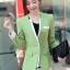 เสื้อสูทแฟชั่น พร้อมส่ง แขนยาวแต่งแขนพับ เข้ารูป สีเขียว คอวีลึก thumbnail 1