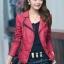 เสื้อแจ็คเก็ต เสื้อหนังแฟชั่น พร้อมส่ง สีแดง คอปกแต่งขลิบสีดำ เข้ารูป สุดเท่ห์ หนัง PU คุณภาพดี thumbnail 2
