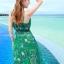 ชุดเดรสยาว MAXIDRESS พร้อมส่ง สีเขียว สายเดี่ยว คอวีลึก พิมพ์ลวดลายดอกไม้สีม่วง ผ้าชีฟอง เอวยางยืด thumbnail 6