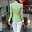เสื้อสูทแฟชั่น พร้อมส่ง แขนยาวแต่งแขนพับ เข้ารูป สีเขียว คอวีลึก thumbnail 2