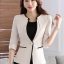 เสื้อสูทแฟชั่น เสื้อสูททำงาน เสื้อสูทสำหรับผู้หญิง พร้อมส่ง สีครีม คอวี แต่งขลิบสีดำ thumbnail 1
