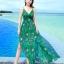 ชุดเดรสยาว MAXIDRESS พร้อมส่ง สีเขียว สายเดี่ยว คอวีลึก พิมพ์ลวดลายดอกไม้สีม่วง ผ้าชีฟอง เอวยางยืด thumbnail 1