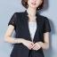 เสื้อสูทแฟชั่น เสื้อสูททำงาน เสื้อสูทสำหรับผู้หญิง พร้อมส่ง สีดำ แขนสั้น ผ้าคอนตอน แต่งแขนด้วยผ้าลูกไม้ ใส่สบาย thumbnail 1