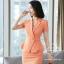 ชุดสูททำงาน เซ็ตคู่ เสื้อสูทสีส้ม คอปก แขนสั้น แต่งระบายชายเสื้อ ไม่มีกระเป๋าค่ะ เข้าชุดกับ กระโปรงทรงเอ สีส้ม thumbnail 6