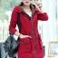เสื้อโค้ท เสื้อกันหนาว พร้อมส่ง สีแดง แขนยาวจั๊มปลายแขน แต่งตัดด้วยสีน้ำตาลสีสวย thumbnail 4
