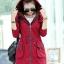 เสื้อโค้ท เสื้อกันหนาว พร้อมส่ง สีแดง แขนยาวจั๊มปลายแขน แต่งตัดด้วยสีน้ำตาลสีสวย thumbnail 5