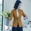 เสื้อสูทแฟชั่น เสื้อสูทสำหรับผู้หญิง พร้อมส่ง สีน้ำตาล คอปก แขนพับสามส่วนลายทางเก๋ thumbnail 3