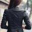 สื้อแจ็คเก็ต เสื้อหนังแฟชั่น พร้อมส่ง สีดำ แขนยาวเย็บตัดต่อเก๋ คอจีน ดีเทลคอปก ด้านขวา 2 ชั้น หนัง PU คุณภาพดี thumbnail 2