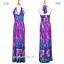 maxi dress ชุดเดรสยาว พร้อมส่ง สีฟ้า คอวีลึก สายคล้องคอผูกโบว์ ลายดอกไม้สีชมพูหวาน thumbnail 8