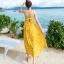 ชุดเดรสยาว MAXIDRESS พร้อมส่ง สีเหลือง ลายดอกไม้น่ารัก สายเดี่ยว ผ้าชีฟอง เนื้อผ้านิ่มดีมากๆ ใส่สบาย thumbnail 6