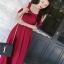 ชุดเดรสยาว MAXIDRESS พร้อมส่ง สีแดง งานสวยเลิศ แต่งระบายช่วงหน้าอก แขนสายเดี่ยว thumbnail 8