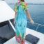 maxi dress ชุดเดรสยาว พร้อมส่ง สีฟ้า คอวีลึก ลายดอกไม้สีสัน สม๊อคช่วงเอว สวยมากๆค่ะ thumbnail 4
