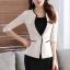 เสื้อสูทแฟชั่น เสื้อสูททำงาน เสื้อสูทสำหรับผู้หญิง พร้อมส่ง สีครีม คอวี แต่งขลิบสีดำ thumbnail 4