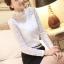 เสื้อลูกไม้แฟชั่น พร้อมส่ง สีขาว คอจีนดีเทลลายถักน่ารัก ผ้าลายลูกไม้ แขนยาว เนื้อนิ่ม thumbnail 2