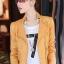 เสื้อแจ็คเก็ต เสื้อหนังแฟชั่น พร้อมส่ง สีเหลือง หนังด้าน มาดเซอร์ คอจีน ดีเทลด้วยปกโฉบเฉี่ยว สุดเท่ห์ หนัง PU คุณภาพดี thumbnail 1