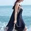 MAXI DRESS ชุดเดรสยาว พร้อมส่ง สีดำ สายเดี่ยว แต่งลวดลายกราฟิกเก๋ กระโปรงยาวบานพริ้วๆ thumbnail 2