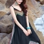 MAXI DRESS ชุดเดรสยาว พร้อมส่ง สีดำ สายเดี่ยว แต่งลวดลายกราฟิกเก๋ กระโปรงยาวบานพริ้วๆ thumbnail 9