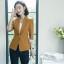 เสื้อสูทแฟชั่น เสื้อสูทสำหรับผู้หญิง พร้อมส่ง สีน้ำตาล คอปก แขนพับสามส่วนลายทางเก๋ thumbnail 4