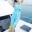 maxi dress ชุดเดรสยาว พร้อมส่ง สีฟ้า คอวีลึก ลายดอกไม้สีสัน สม๊อคช่วงเอว สวยมากๆค่ะ thumbnail 2