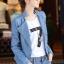 เสื้อแจ็คเก็ต เสื้อหนังแฟชั่น พร้อมส่ง สีฟ้า หนังด้าน มาดเซอร์ คอจีน ดีเทลด้วยปกโฉบเฉี่ยว สุดเท่ห์ thumbnail 4