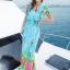 maxi dress ชุดเดรสยาว พร้อมส่ง สีฟ้า คอวีลึก ลายดอกไม้สีสัน สม๊อคช่วงเอว สวยมากๆค่ะ thumbnail 1