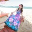 maxi dress ชุดเดรสยาว พร้อมส่ง สีฟ้า คอวีลึก สายคล้องคอผูกโบว์ ลายดอกไม้สีชมพูหวาน thumbnail 1