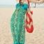 ชุดเดรสยาว maxi dress พร้อมส่ง โทนเขียว-ฟ้า สายคล้องคอ แต่งลวดลายสุดเก๋ๆทั้งชุด เนื้อผ้ายืดหยุ่นใส่สบาย ซัมเมอร์นี้ไม่ควรพลาดนะคะ thumbnail 5