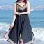 MAXI DRESS ชุดเดรสยาว พร้อมส่ง สีดำ สายเดี่ยว แต่งลวดลายกราฟิกเก๋ กระโปรงยาวบานพริ้วๆ thumbnail 7