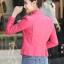เสื้อแจ็คเก็ต เสื้อหนังแฟชั่น พร้อมส่ง สีชมพู คอจีนเก๋ ดีเทลด้วยปกโฉบเฉี่ยว thumbnail 4