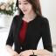 เสื้อสูทแฟชั่น เสื้อสูททำงาน เสื้อสูทสำหรับผู้หญิง พร้อมส่ง สีดำ คอวี แต่งขลิบเสื้อ ผ้าโพลีเอสเตอร์ 100 % เนื้อดี งานตัดเย็บเนี๊ยบ ใส่สบาย thumbnail 4