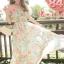 MAXI DRESS ชุดเดรสยาว พร้อมส่ง ผ้าชีฟอง ลายดอกไม้ โทนเขียวอมฟ้า thumbnail 1