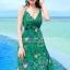 ชุดเดรสยาว MAXIDRESS พร้อมส่ง สีเขียว สายเดี่ยว คอวีลึก พิมพ์ลวดลายดอกไม้สีม่วง ผ้าชีฟอง เอวยางยืด thumbnail 3