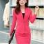 เสื้อสูทสีชมพู แขนยาว แต่งเว้าช่วงคอ คอวีลึกติดกระดุมเม็ดเดียว กระโปรงสั้น สีชมพู ทรง A ค่ะ thumbnail 1