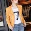 เสื้อแจ็คเก็ต เสื้อหนังแฟชั่น พร้อมส่ง สีเหลือง หนังด้าน มาดเซอร์ คอจีน ดีเทลด้วยปกโฉบเฉี่ยว สุดเท่ห์ หนัง PU คุณภาพดี thumbnail 2